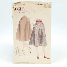 Vintage 1952 Sewing Pattern Vogue 7682 Skirt Sz 26 waist 35 Hip UnPrinted UnUsed