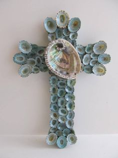 Shell Art Cross with Crystal Abalone