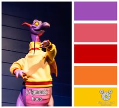 Here are the colors hues of Figment in Imagination at Epcot in the Walt Disney World Resort.