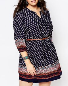 Image 3 ofYumi Plus Belted Dress In Border Print