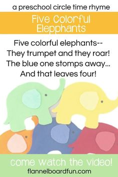 Come watch these adorable felt board elephants in action--perfect for circle time and storytime with your toddlers and preschool kids! #flannelboardfun #elephants #preschoolsongs #preschoolgames #rhymes