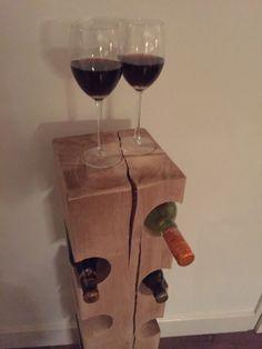 Eikenhouten wijnrek. Ideaal als relatiegeschenk! ✔ Stoereplanken.nl