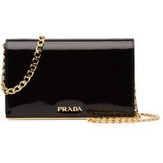 Prada Patent Chain Shoulder Bag ($1,270) ❤ liked on Polyvore featuring bags, handbags, shoulder bags, black, handbags shoulder bags, prada, shoulder handbags, shoulder bag purse, handbag purse and man bag