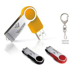 """Round Folding USB 2.0 Flash Drive - Pacific Solutions round folding USB 2.0 flash drive. 1-year warranty. Unattached black lanyard included, approx. 17"""" hang length. Made of metal, ABS (acrylonitrile butadiene styrene) plastic. Product size: 2 3/16"""" w x 13/16"""" h x 3/8"""" d. Optional keyring. Fluctuating pricing: please call for pricing. #propelpromo"""
