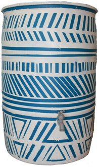 Christy Wooke uses a unique geometric pattern to liven up this rain barrel.