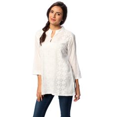 La Cera Women's White Hand-appliqued Tunic | Overstock.com Shopping - Top Rated La Cera Long Sleeve Shirts
