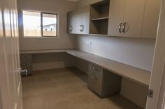 Storage solution for your new home - Fully built-in office complete with desk, drawers, overhead cupboards