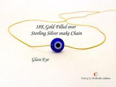 Gold Rose Gold or Silver Evil Eye Necklace Blue Evil Eye Tiny Necklace, Evil Eye Necklace, Stud Earrings, Or Rose, Rose Gold, Evil Eye Pendant, Beautiful Gift Boxes, Necklace Lengths, 18k Gold