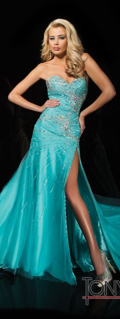 Beaded Tony Bowls Gown