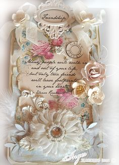 Breathtakingly beautiful card with layers upon layers of gorgeous flowers. Stunning chic tag