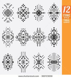 Ethnic Style Tribal Elements Set - A collection of 12 isolated geometrical ornaments - Useful as background ornaments or texture Style Tribal, Ethnic Style, Hipster Logo, Spiritual Symbols, Tribal Patterns, Geometric Art, Islamic Art, Sacred Geometry, Aztec
