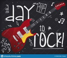 Blackboard with doodle chalk drawings of lightnings, music notes, stars, fire and calendar, reminding at You to enjoy Rock 'n' Roll Day in July 13. Chalk Drawings, Blackboards, Music Notes, Rock N Roll, Calendar, Doodles, Guitar, Fire, Stars