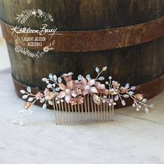 Rose gold toned bridal Hair comb or wedding veil comb accessory, a delicate floral spray of resin flowers, crystals, Czech glass pearls & rhinestones in muted rose gold tones (other color options available on check out) Handworked with high quality, tarnish resistant, rose gold
