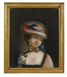 A CHINESE REVERSE GLASS PAINTING OF A LADY  18TH/19TH CENTURY