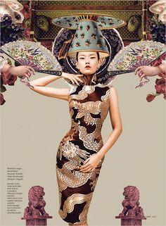 Montase Chinoiserie by Ryan Tandya (Dewi) - NPM Photography China Fashion, Fashion Art, Womens Fashion, Fashion Design, Fashion Trends, Asian Style, Chinese Style, Chinoiserie, Fashion Shoot