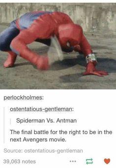 Spiderman and Antman fighting. haaa
