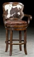 Custom bar or counter stool. Bar furniture and furnishings. Cowhide Bar Stools, Cowhide Decor, Cowhide Furniture, Home Bar Furniture, Leather Bar Stools, Western Furniture, Leather Ottoman, Leather Furniture, Furniture Ideas