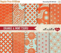 Japan Digital Paper Orange Mint Green Background Patterns Tsuru By All is full of love