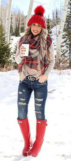 #Winter #Outfits / Cashmere Scarf - Under The Knee Red Boots