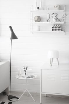 The Little Design Corner: How to style your home like a pro - 10 on trend must haves to create the wow factor (Part Unique Floor Lamps, Contemporary Floor Lamps, Little White House, Black Floor Lamp, White Rooms, Scandinavian Home, White Furniture, Living Room Inspiration, Interiores Design