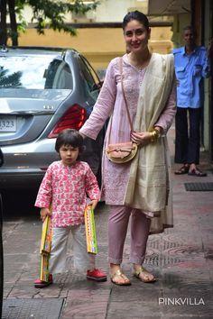 Kareena Kapoor Khan, Karisma Kapoor & Taimur Ali Khan flaunt shades of pink on Diwali; See Pics Salwar Designs, Kurta Designs Women, Kurti Designs Party Wear, Bollywood Outfits, Bollywood Dress, Bollywood Fashion, Designer Kurtis, Indian Designer Suits, Indian Attire