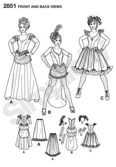 S2851 Misses Saloon, Steampunk, & Burlesque Costumes | by Andrea Schewe