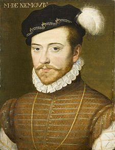 Jacques de Savoie, duc de Nemours, (artiste inconnu v. 1556 Musée Condé, Chantilly), né à Vauluisant le 12 oct 1531, mort à Annecy le 18 juin 1585, était un prince de la maison de Savoie et un protagoniste important de la cour de France. Pendant les guerres d'Italie et celles de Religion, il combattit dans l'armée royale. Réputé pour son charme et son élégance, il fut mêlé à plusieurs histoires galantes. Il se maria avec Anne d'Este, la veuve mondaine du duc François de Guise.