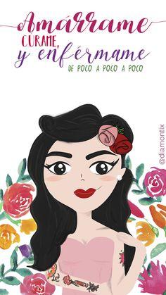 Wallpaper Mon Laferte frases letras flores amárrame ilustración iphone 6 iphone 7