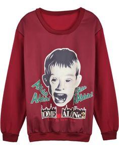 Red Long Sleeve Boy Print Loose Sweatshirt US$31.97