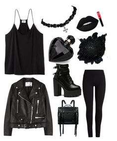 """Proud to be a goth"" by bubbab ❤ liked on Polyvore featuring Acne Studios, McQ by Alexander McQueen, Lipsy and Lime Crime"