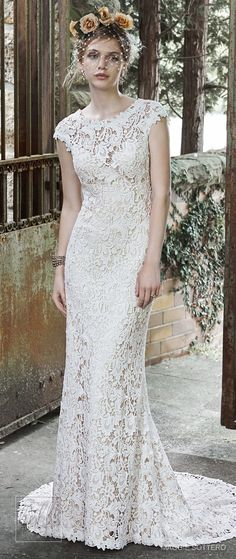 Lace sheath with cap sleeves vintage rustic wedding dresses by Magie Sottero