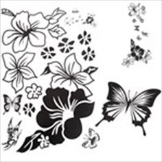 DIY Self-Adhesive Removable Wall Sticker Decal Wallpaper House Interior Decor - Flowers & Butterfly Pattern