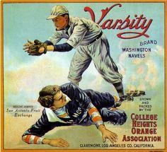 Baseball Fruit Crate Label Art Prints