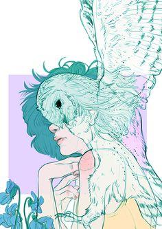'Barn Owl' (Daylight Riddled Eyes)   Illustration based on Gwen Harwood's poem 'Barn Owl'