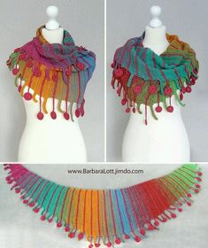 Scarf Centipede, 750 m LL Farbverlauf, 300 m LL Kontraststreifen - Crochet Poncho Knitting Patterns, Crochet Poncho, Knitted Shawls, Crochet Scarves, Crochet Clothes, Crochet Stitches, Crochet Hooks, Crochet Baby, Ponchos