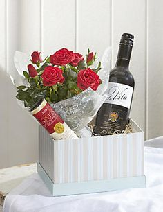 Rose & Red Wine Chocolate Hamper: This is something that we could create for you, with whatever items you'd like in it. Prices will vary. Wine Hampers, Wine Gift Baskets, Fruit Flower Basket, Chocolate Hampers, Chocolate Bouquet, Diy Gift Box, Candy Bouquet, Wine Bottle Crafts, Teacher Appreciation Gifts