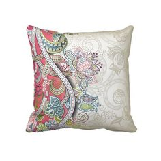 Unique, trendy, decorative and pretty pillow. Beautiful  vintage paisley flowers pattern. Antique style floral print in light and bright pink, violet purple, teal blue and pastel green. Ornate, romantic, retro art deco design for the decor trend setter, or nouveau victorian motif lover. Cute girly girl's, kid's, mom's birthday present, Mother's day, or Christmas gift. Original, cool and fun pillow for the master or children's bedroom, nursery, living or family room, beach house or vacation…