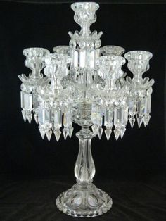 Baccarat French Crystal Seven Armed Candelabra This would look perfect on my mirrored centerpiece! Antique Chandelier, Antique Lamps, Antique Lighting, Chandelier Lighting, Art Of Glass, Cut Glass, Baccarat Crystal, Crystal Candelabra, Crystal Chandeliers