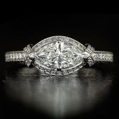 GIA CERTIFIED 1.28ctw MARQUISE DIAMOND PLATINUM ENGAGEMENT RING VINTAGE COCKTAIL