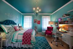 20 Bedroom Paint Ideas For Teenage Girls The aqua walls gracing in this bedroom highlights the glamorous furnishings in this teen's bedroom. It gives a sophisticated touch and contemporary feel in the space. Teenage Girl Bedroom Designs, Teenage Girl Bedrooms, Girls Bedroom, Bedroom Decor, Blue Bedroom Ideas For Girls, Teal Teen Bedrooms, Teen Rooms, Bedroom Small, Awesome Bedrooms