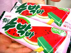 Watermelon popsicle. (Soobahk bar) ~ These are so good!
