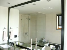 Counter to ceiling framed bathroom mirror | House of Mirrors Calgary