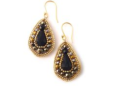 Black Droplets Earrings/ Pyrite stone / Hematite stone/ Japanese seed beads TOHO/ Gold by QJBoutique on Etsy