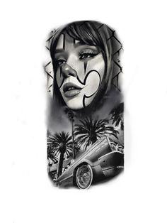 Half Sleeve Tattoos Drawings, Half Sleeve Tattoos Designs, Best Tattoo Designs, Chicano Art Tattoos, Cholo Art, Alien Tattoo, Ideas Geniales, Realism Tattoo, Tattoo Stencils