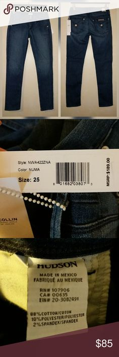 """Hudson Collin Skinny Jeans Numa Wash New with tags. Perfect condition. No trades  Soft and stretchy   Approximate measurements  Waist laying flat 14.5"""" Rise 8"""" Inseam 27.5"""" Hudson Jeans Jeans"""