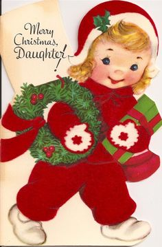 Vintage Christmas Card ~ Merry Christmas Daughter