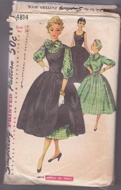 Junior Miss Dress Jumper Secretary Blouse Full Skirt School Size 11 Bust 29 Sewing Pattern Simplicity 4814 Complete Simplicity Sewing Patterns, Vintage Patterns, Vintage Sewing, Retro Fashion, Vintage Fashion, Vintage Style, Miss Dress, Sewing For Beginners, Top Pattern
