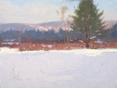 """'First Blanket' - oil - 9x12 © Marc R. Hanson '10  We've had our first major snow storm with about 8"""" on the ground.  Yesterday I decided t..."""