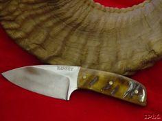 Ram's horn handle, hollow ground three-finger.