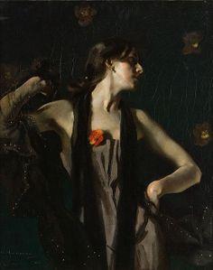 """ХУДОЖНИК ГУГО ФОН ГАБЕРМАН. """"Танцовщица с покрывалом"""" Изображенная женщина представлена в таинственно-эротической атмосфере, как будто в лунном освещении. На ее декольте сияет красный цветок камелии, с элегантностью змеи она заворачивается в прозрачное черное покрывало. Многогранность движения, передача материальности и света в этой картине чрезвычайно сложны и представляют одно из высочайших достижений художника"""